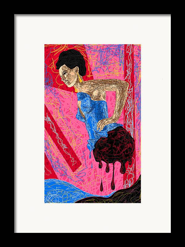 Fashion Abstraction De Angela Balderston Framed Print featuring the drawing Fashion Abstraction De Angela Balderston by Kenal Louis