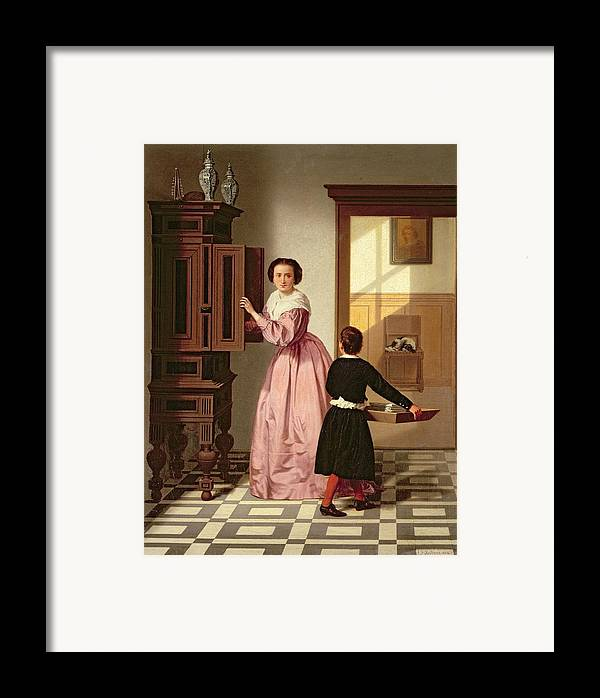 Figures In A Laundryroom Framed Print featuring the painting Figures In A Laundryroom by Gustaaf Antoon Francois Heyligers