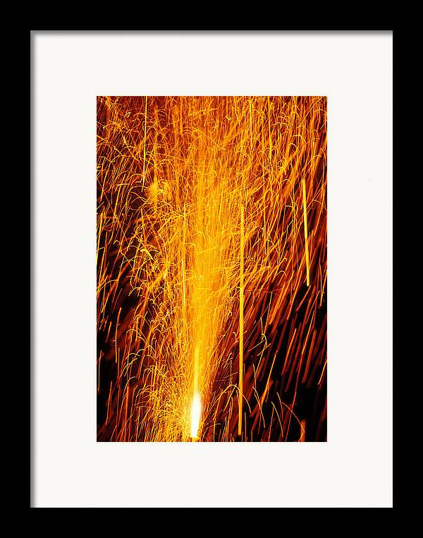Fireworks Framed Print featuring the photograph Fireworks Fountain by Garry Gay