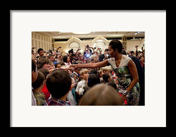 History Framed Print featuring the photograph First Lady Michelle Obama Greets by Everett