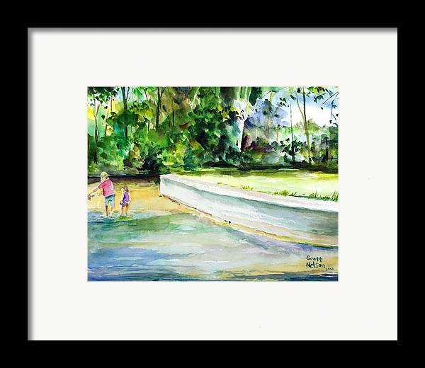 Fishing Lessons Framed Print featuring the painting Fishing Lessons by Scott Nelson