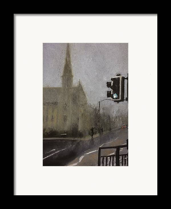 Fog Framed Print featuring the pastel Foggy Herne Bay 1 by Paul Mitchell