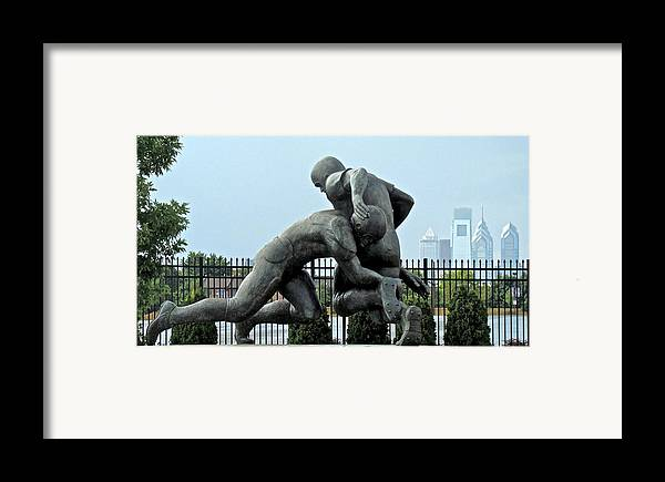 Football Statue Citizens Bank Park City View Philadelphia Framed Print featuring the photograph Football At Citizens Bank Park by Alice Gipson