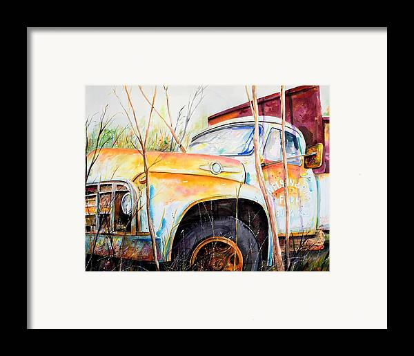 Truck Framed Print featuring the painting Forgotten Truck by Scott Nelson