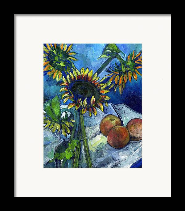 Sunflowers Framed Print featuring the painting From The Farmer's Market by Carol Mangano