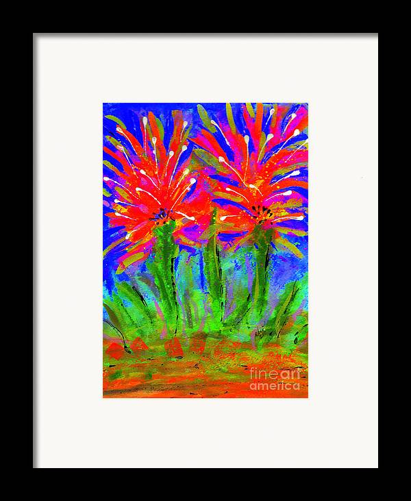 Vibrant Framed Print featuring the painting Funky Flower Towers by Angela L Walker
