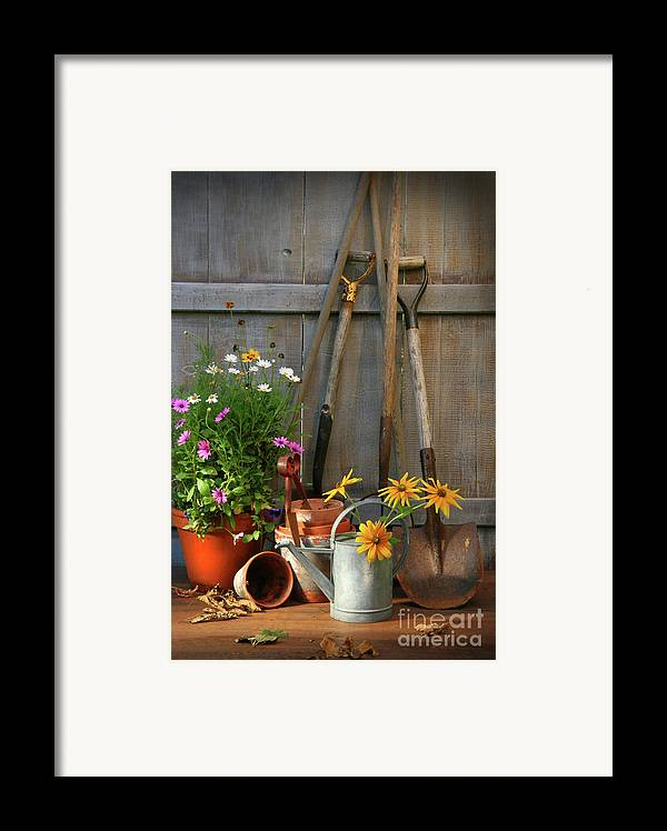 Activity Framed Print featuring the photograph Garden Shed With Tools And Pots by Sandra Cunningham