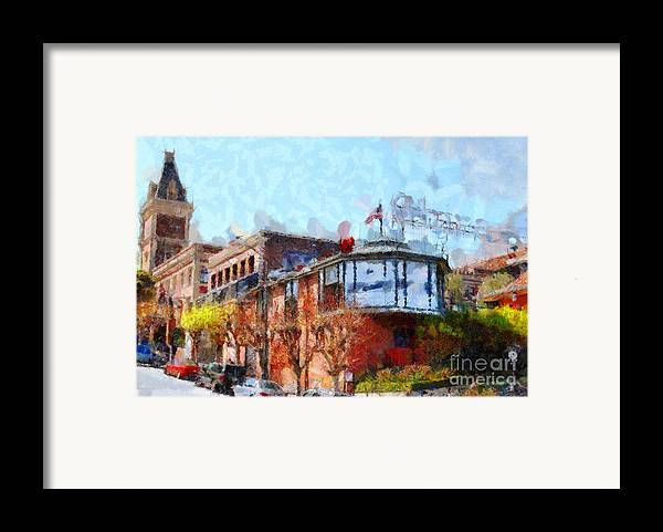 San Francisco Framed Print featuring the photograph Ghirardelli Chocolate Factory San Francisco California . Painterly . 7d14093 by Wingsdomain Art and Photography