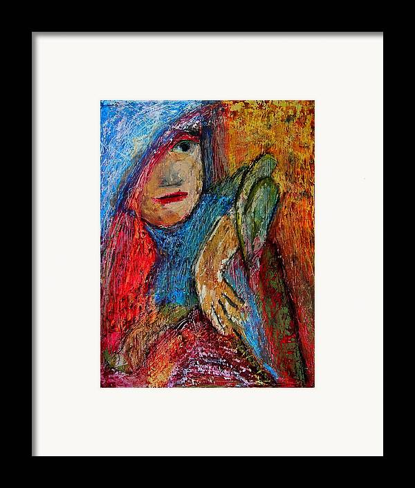 Gastonia Framed Print featuring the photograph Girl With A Green Parrot by Tammy Cantrell