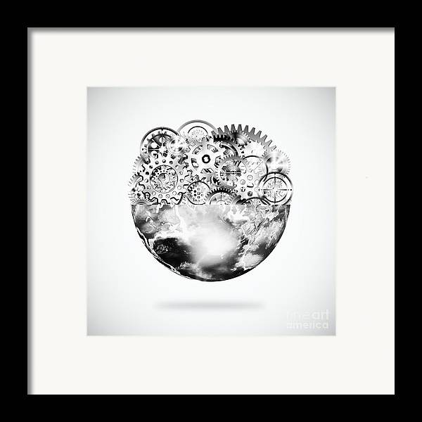 Art Framed Print featuring the photograph Globe With Cogs And Gears by Setsiri Silapasuwanchai
