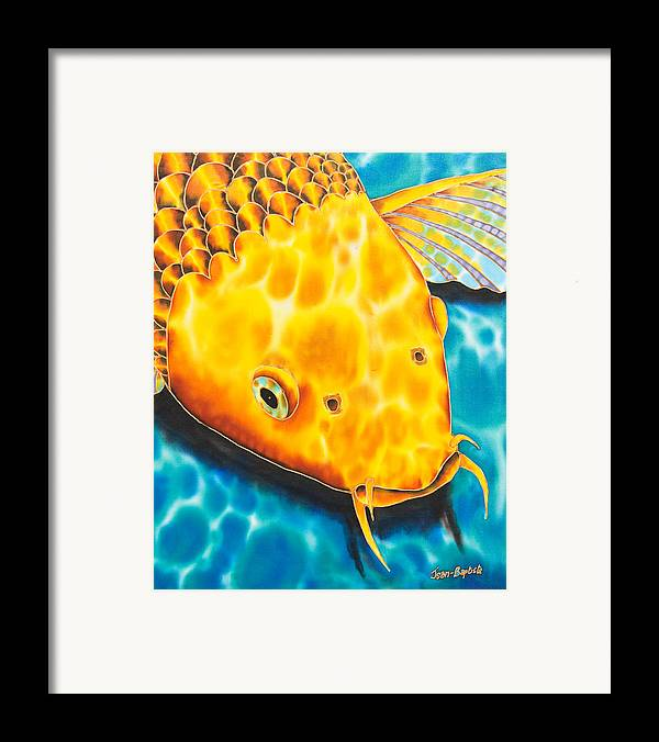 Fish Framed Print featuring the tapestry - textile Golden Koi by Daniel Jean-Baptiste