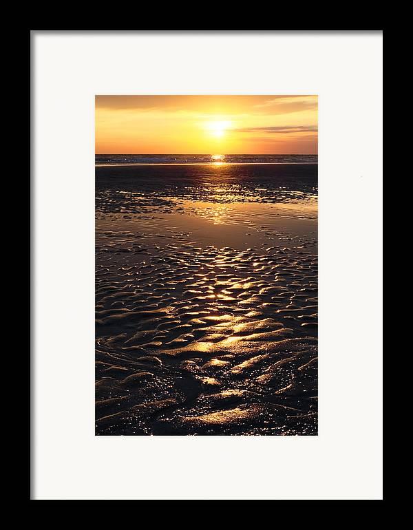 Abstract Framed Print featuring the photograph Golden Sunset On The Sand Beach by Setsiri Silapasuwanchai
