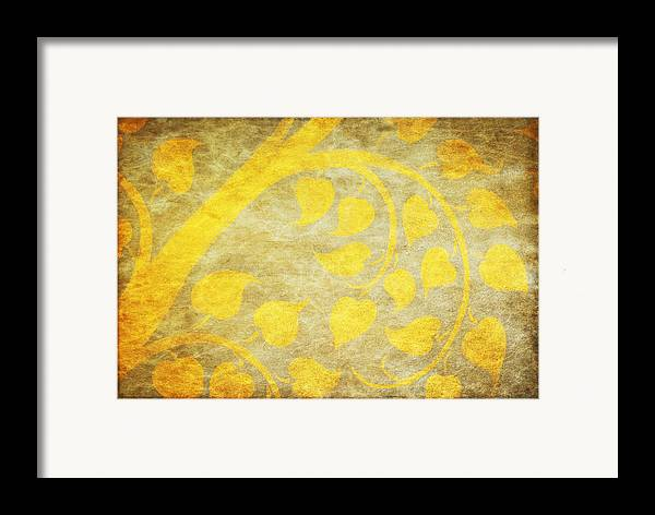 Abstract Framed Print featuring the painting Golden Tree Pattern On Paper by Setsiri Silapasuwanchai