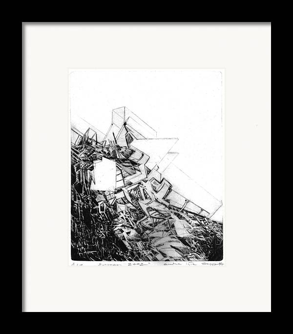 Abstract Framed Print featuring the drawing Graphics Europa 2014 by Waldemar Szysz