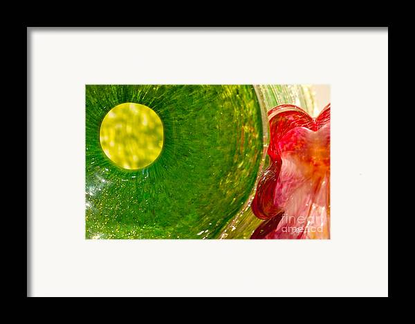 Art Glass Framed Print featuring the photograph Green And Red by Artist and Photographer Laura Wrede