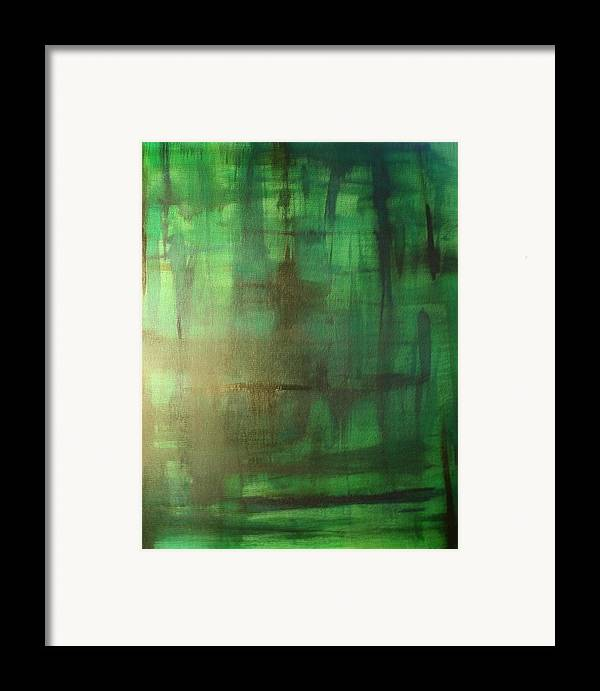 Framed Print featuring the painting Green Meadow by Derya Aktas