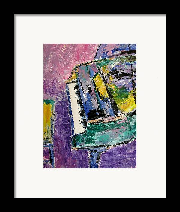 Music Framed Print featuring the painting Green Piano Side View by Anita Burgermeister