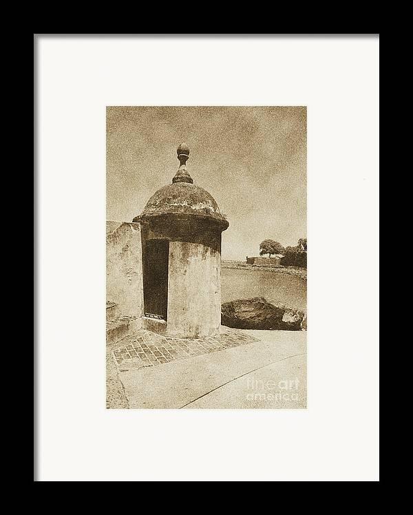 El Morro Framed Print featuring the digital art Guard Post Castillo San Felipe Del Morro San Juan Puerto Rico Vintage by Shawn O'Brien