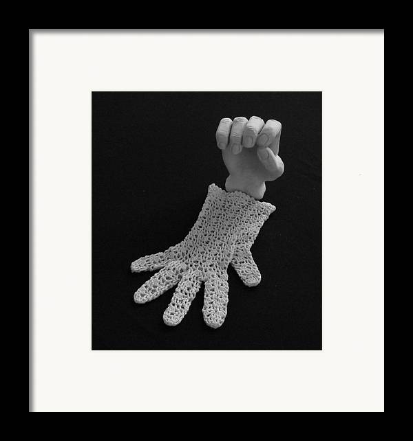 Sculpture Framed Print featuring the sculpture Hand And Glove by Barbara St Jean