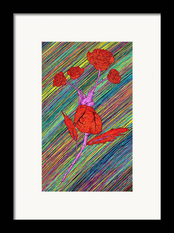 Heart Made Of Roses Framed Print featuring the painting Heart Made Of Roses by Kenal Louis