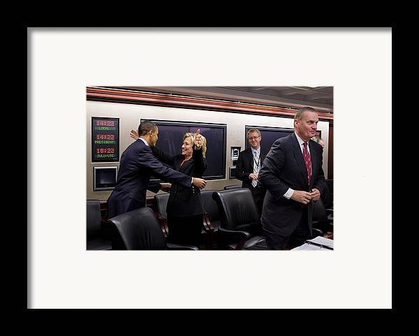 History Framed Print featuring the photograph Hillary Clinton Joyfully Congratulates by Everett