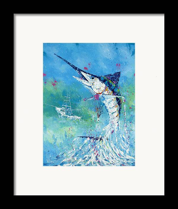 Blue Marlin Framed Print featuring the painting Hook Up by Kevin Brant