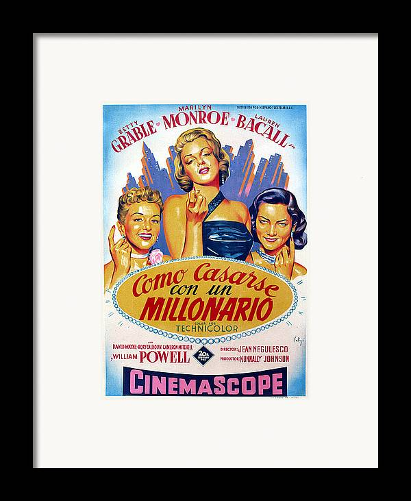 1950s Poster Art Framed Print featuring the photograph How To Marry A Millionaire, Betty by Everett