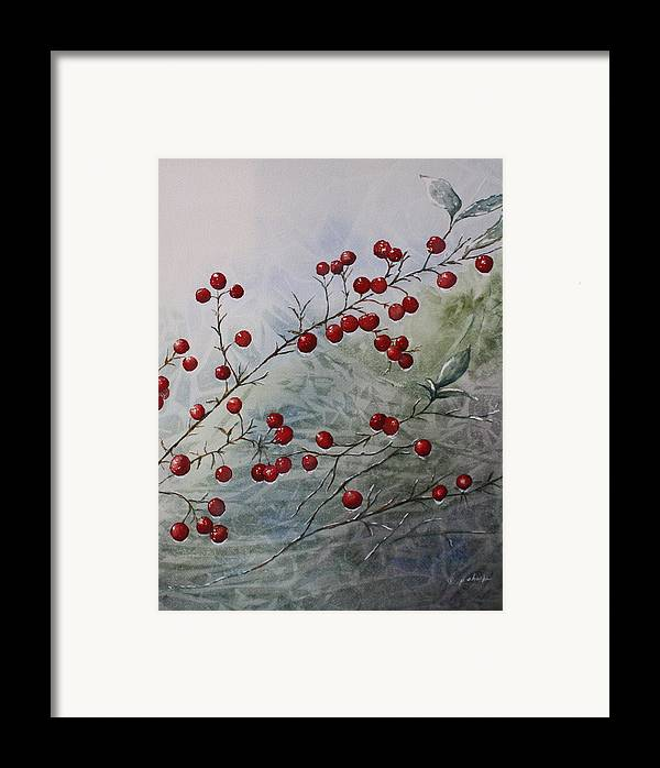 Wintry Framed Print featuring the painting Iced Holly by Patsy Sharpe