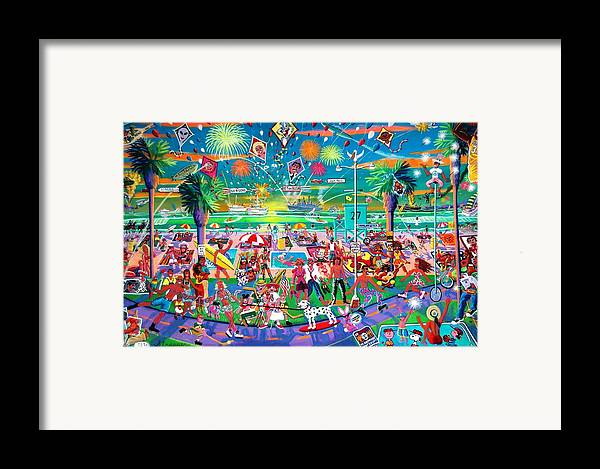 Venice Beach Framed Print featuring the painting Independence Day Venice Style by Frank Strasser