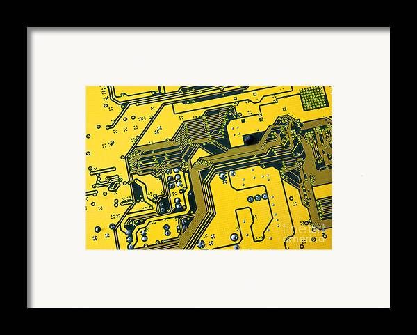 Abstract Framed Print featuring the photograph Integrated Circuit by Carlos Caetano