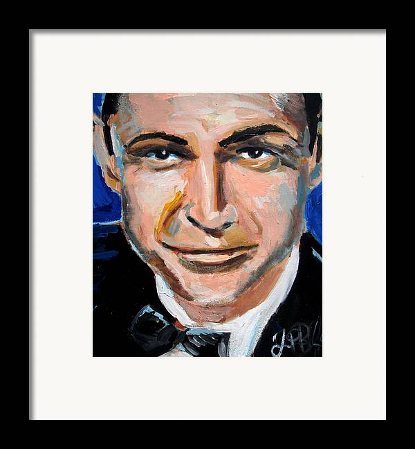 James Framed Print featuring the painting James Bond by Jon Baldwin Art