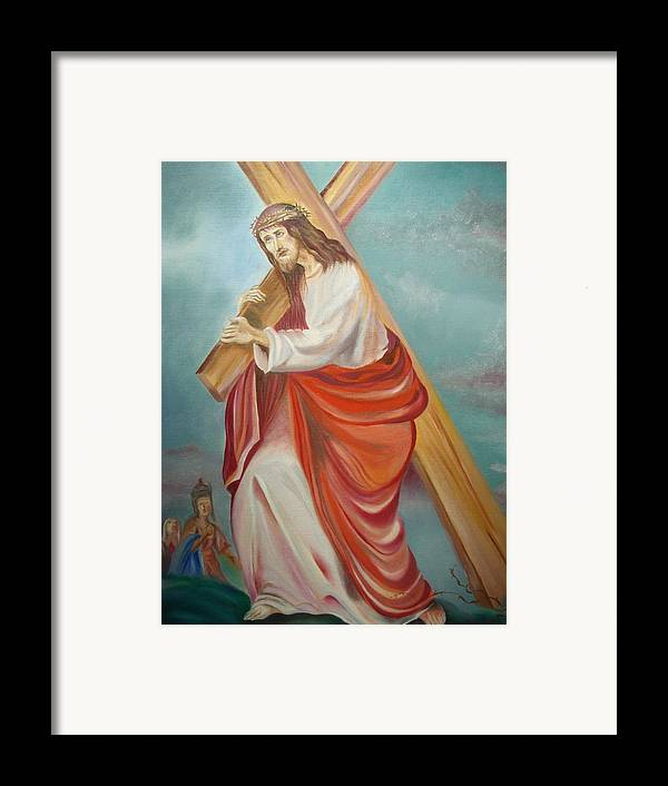 Jesus Framed Print featuring the painting Jesus by Prasenjit Dhar