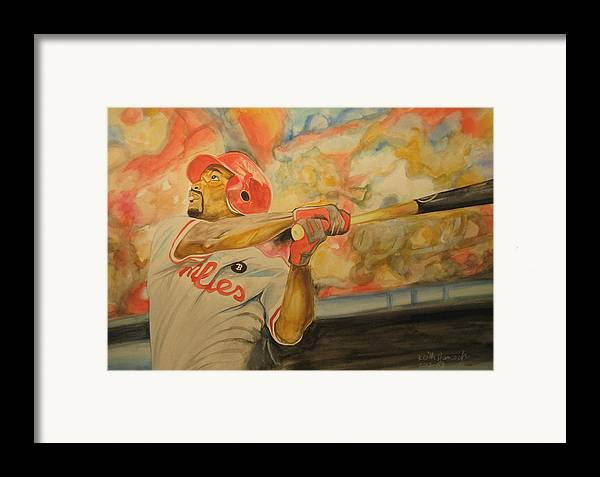 Baseball Framed Print featuring the painting Jimmy Rollins by Keith Hancock
