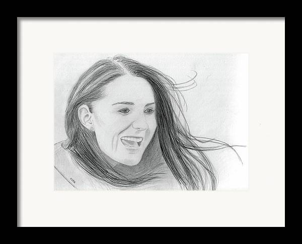 Kate Middleton Framed Print featuring the drawing Kate Middleton - Duchess Of Cambridge by Pat Moore