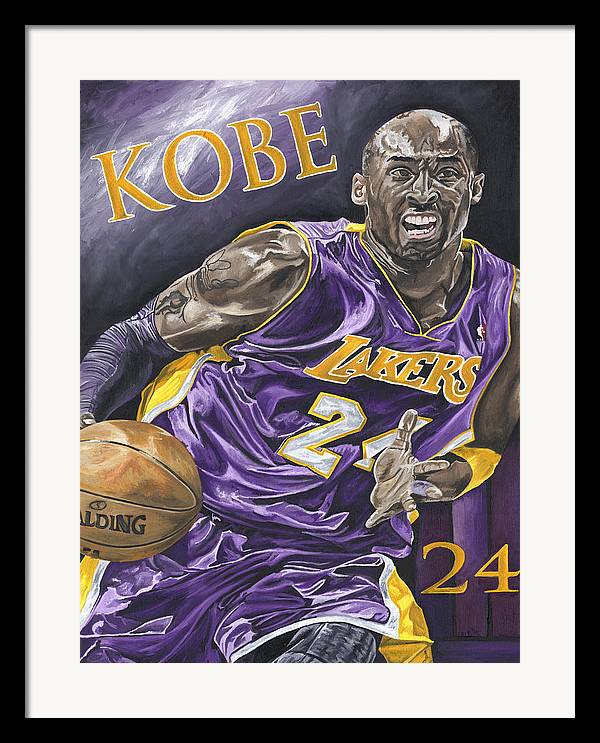 La Lakers Kobe Bryant Nba Basketball David Courson Sports Art Framed Print featuring the painting Kobe Bryant by David Courson