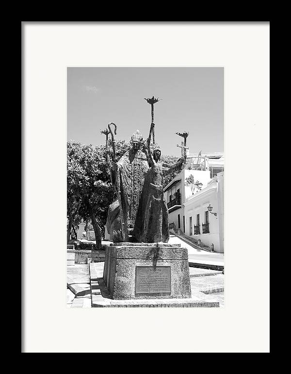 Old San Juan Framed Print featuring the photograph La Rogativa Sculpture Old San Juan Puerto Rico Black And White by Shawn O'Brien