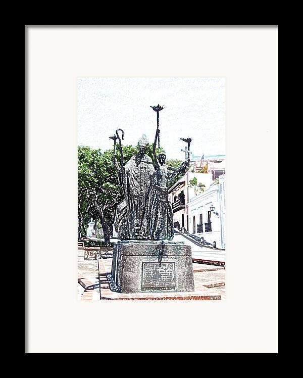 Old San Juan Framed Print featuring the digital art La Rogativa Sculpture Old San Juan Puerto Rico Colored Pencil by Shawn O'Brien