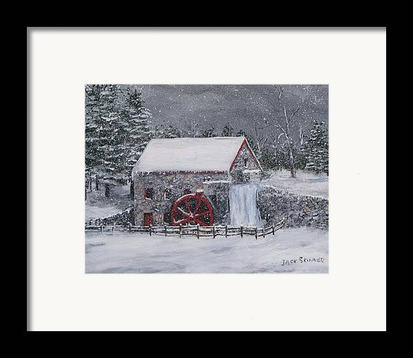 Sudbury Ma Framed Print featuring the painting Longfellow's Grist Mill In Winter by Jack Skinner