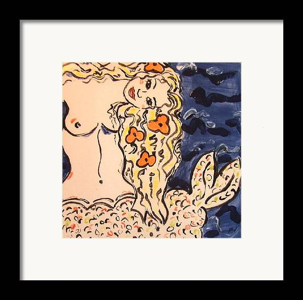 Mermaid Framed Print featuring the ceramic art Lovely Mermaid by Patricia Lazar
