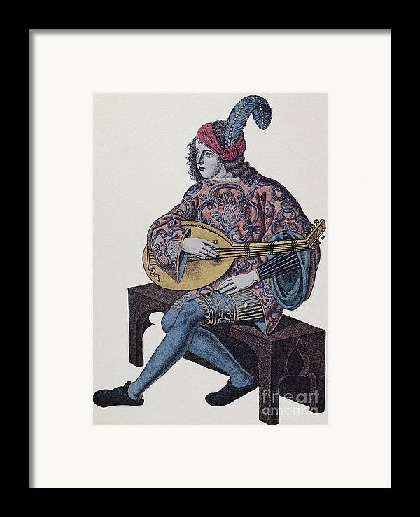 1839 Framed Print featuring the photograph Lute Player, 1839 by Granger