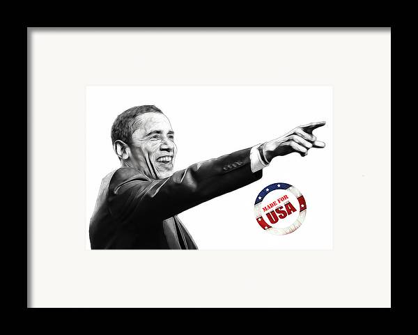Barack Obama Water Watercolor Color Painting Texture President Usa Us 44 44th Framed Print featuring the digital art Made For Usa by Stefan Kuhn