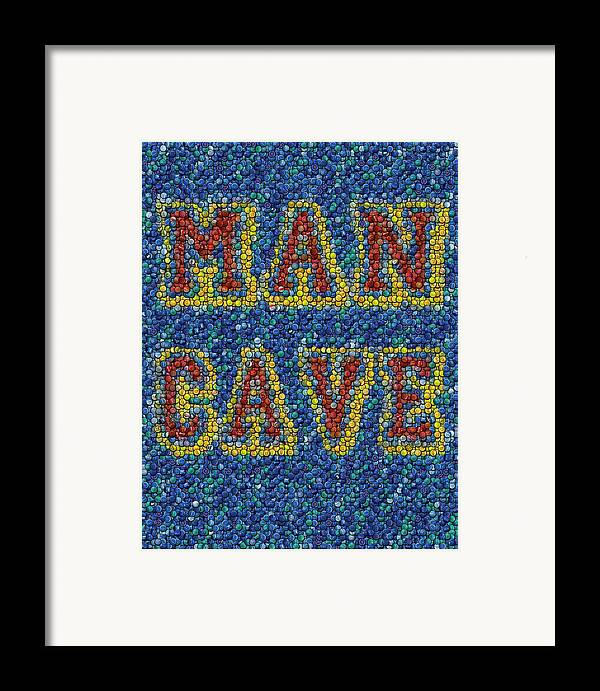 Man Cave Framed Print featuring the mixed media Man Cave Bottle Cap Mosaic by Paul Van Scott