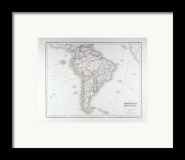 Horizontal Framed Print featuring the digital art Map Of South America by Fototeca Storica Nazionale