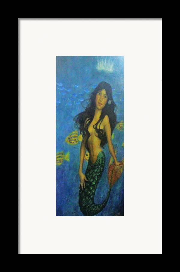 Topless Framed Print featuring the painting Mermaid by Alexandro Rios