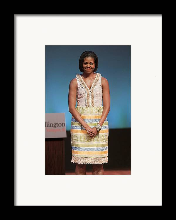 Michelle Obama Framed Print featuring the photograph Michelle Obama In Attendance For Lady by Everett