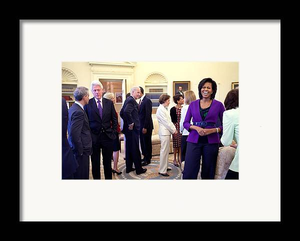History Framed Print featuring the photograph Michelle Obama Laughs With Guests by Everett
