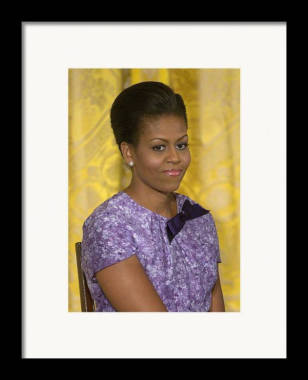 Michelle Obama Framed Print featuring the photograph Michelle Obama Wearing An Anne Klein by Everett