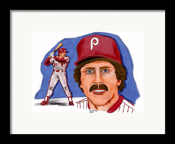 Phillies Framed Print featuring the drawing Mike Schmidt-color by Chris DelVecchio