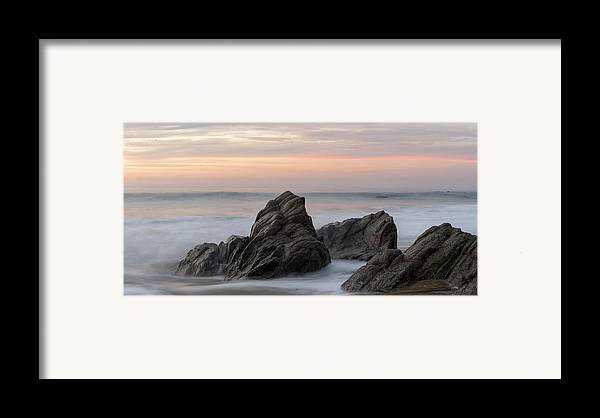 Beauty In Nature Framed Print featuring the photograph Mist Surrounding Rocks In The Ocean by Keith Levit