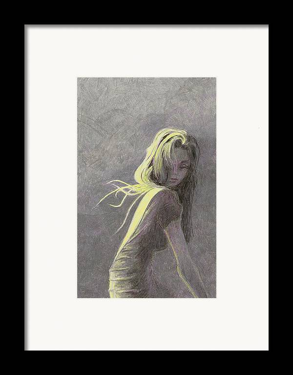Fashion Framed Print featuring the drawing Moonlight by Steve Asbell